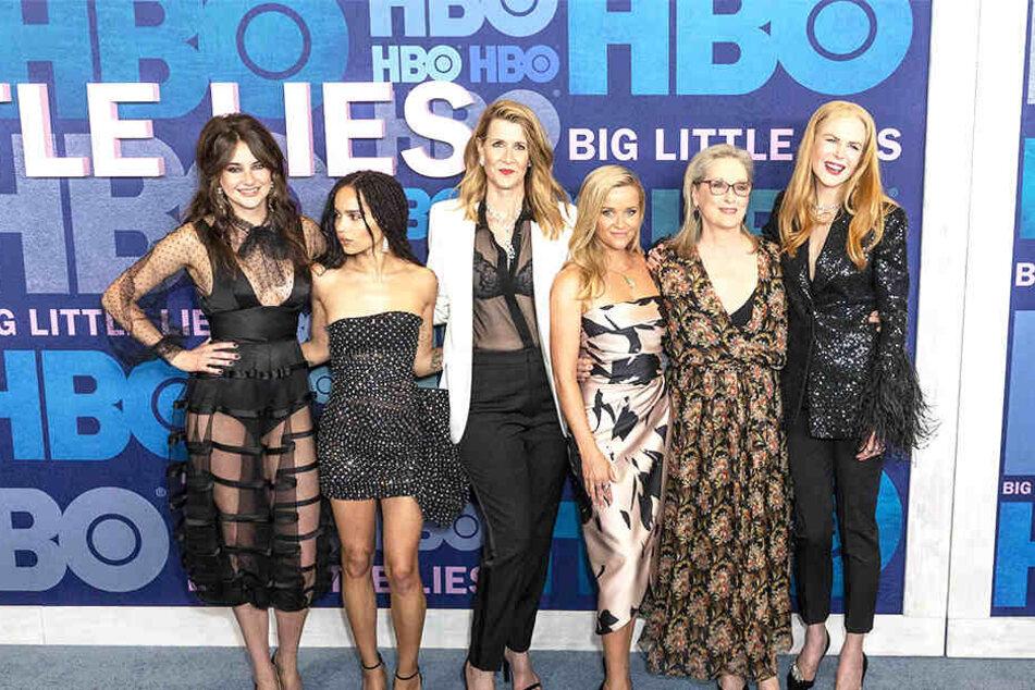 Nur wenn Shailene Woodley (27, v.l.), Zoë Kravitz (30), Laura Dern (52), Reese Witherspoon (43), Meryl Streep (70) und Nicole Kidman (52) ihre Termine aufeinander abstimmen könnten, wäre eine weitere Staffel möglich