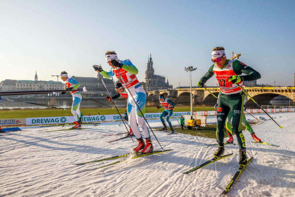 Damit die Athleten in Dresden starten können, wird jede Menge künstlicher Schnee benötigt.