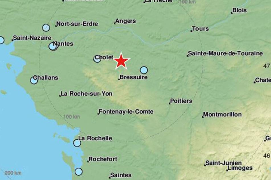 Das Erdbeben ereignete sich in Westfrankreich.