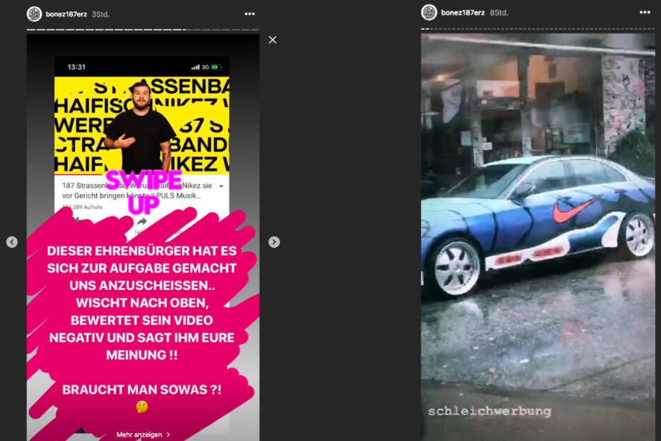Bonez MC reagierte auf Instagram sichtbar verärgert auf den Vorwurf der Schleichwerbung.