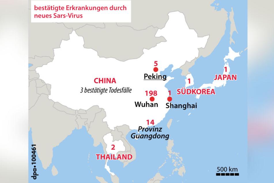 Mittlerweile gibt es auch in Thailand, Japan und Südkorea bestätigte Erkrankungen durch den Coronavirus.Inzwischen wurden vier Todesfälle in China bestätigt.