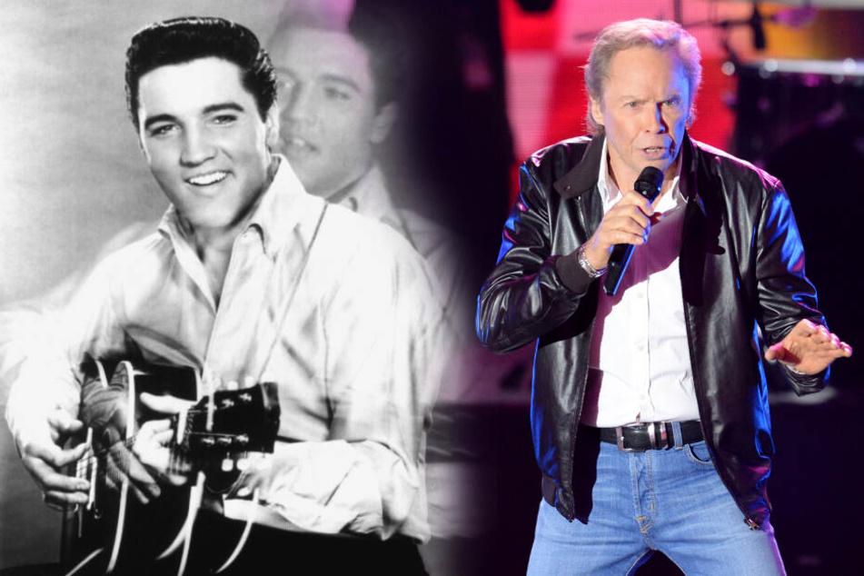 Der Sänger Peter Kraus (79,r.) wurde zu Beginn seiner Karriere mit Rock'n'Roll Idol Elvis Presley verglichen. (Bildmontage)