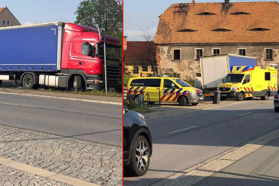 Schrecklicher Arbeitsunfall nahe Bautzen: Mann wird beim Abladen seines Lasters erschlagen