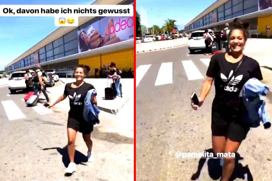 So süß überraschte Pamela Gil Mata (28) Philipp Stehler (30) am Flughafen.