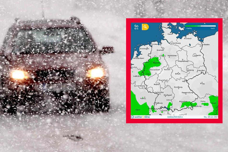 Für den Sonntag sagt wetteronline.de (Grafik) für fast ganz Deutschland erhöhtes Schneefallrisiko voraus.