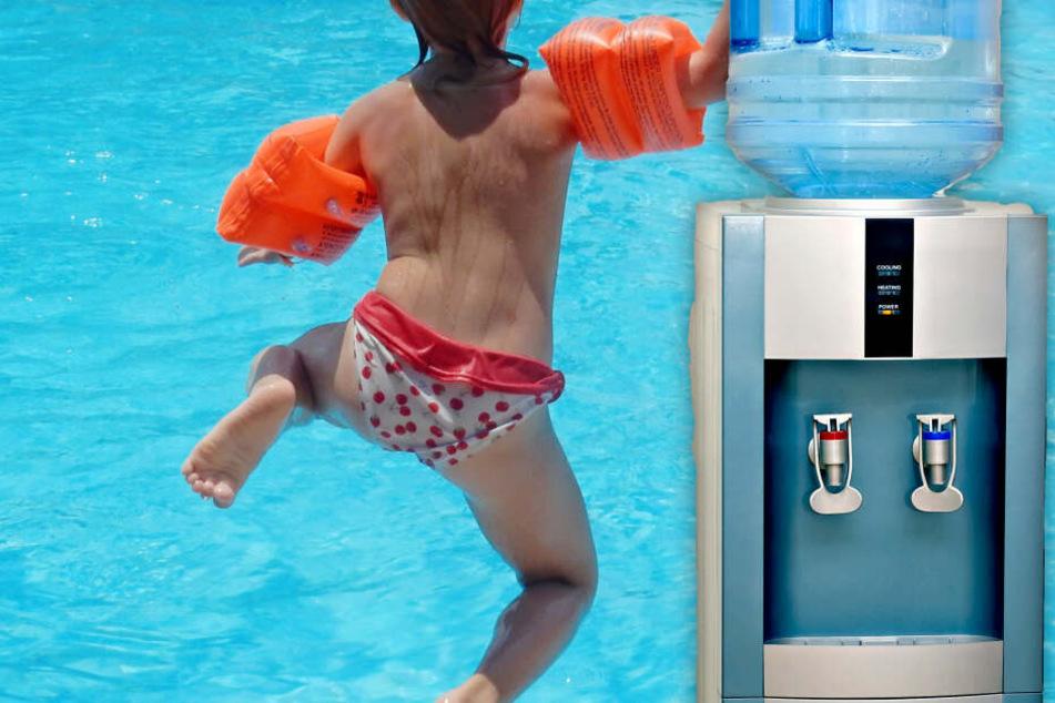 Fotomontage: Die Zweijährige benutzte den wohl defekten Wasserspender, der rund 75 Grad heißes Wasser ausgab (Symbolbild).