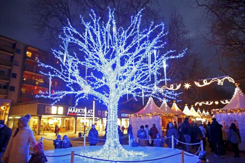 """Der """"blaue Baum"""" ist ohne Zweifel ein Blickfang auf dem Augustusmarkt in Dresden-Neustadt."""
