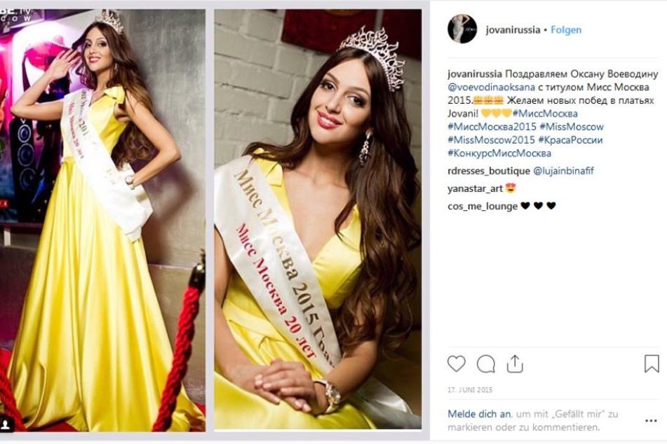 Oksana Voevodina nach ihrer Wahl zur Schönheitskönigin in Russland.