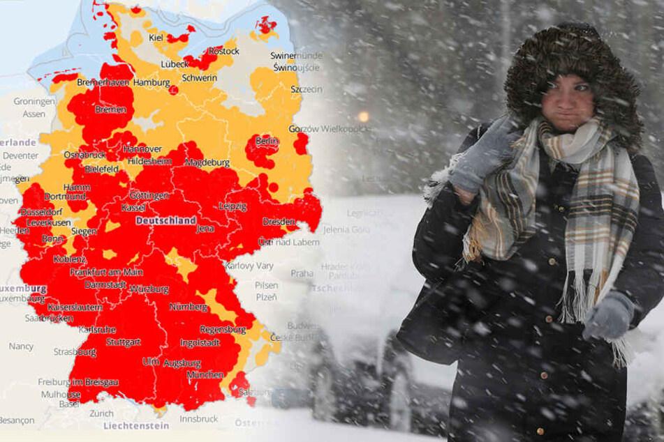Der Wetterdienst warnt vor Gewitter, Sturm und Neuschnee.