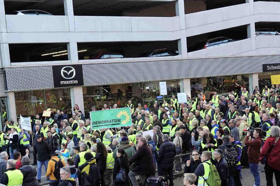 Am Samstag kamen rund 500 Demonstranten zum Neckartor.