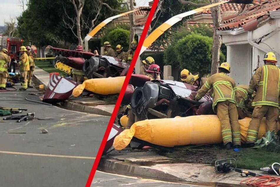 Hubschrauber stürzt in Wohngebiet: Drei Tote