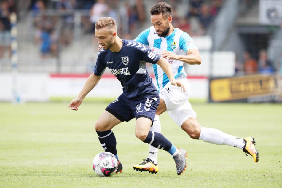 Fabian Müller, der hier den Babelsberger Tobias Dombrowa attackiert, feierte mit dem CFC drei Siege am Stück. An den Aufstieg denkt der Ex-Dresdner aber (noch) nicht.