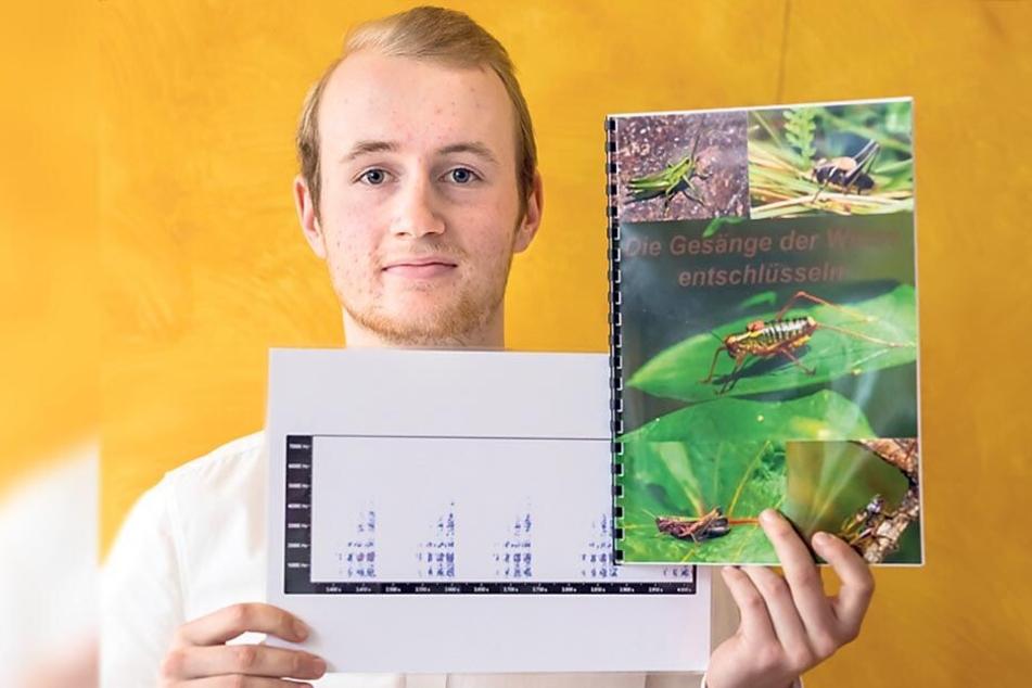 """Der aktuelle Landessieger von """"Jugend forscht"""", Falco Eigner (18), hat die Sprache der Heuschrecken erforscht."""