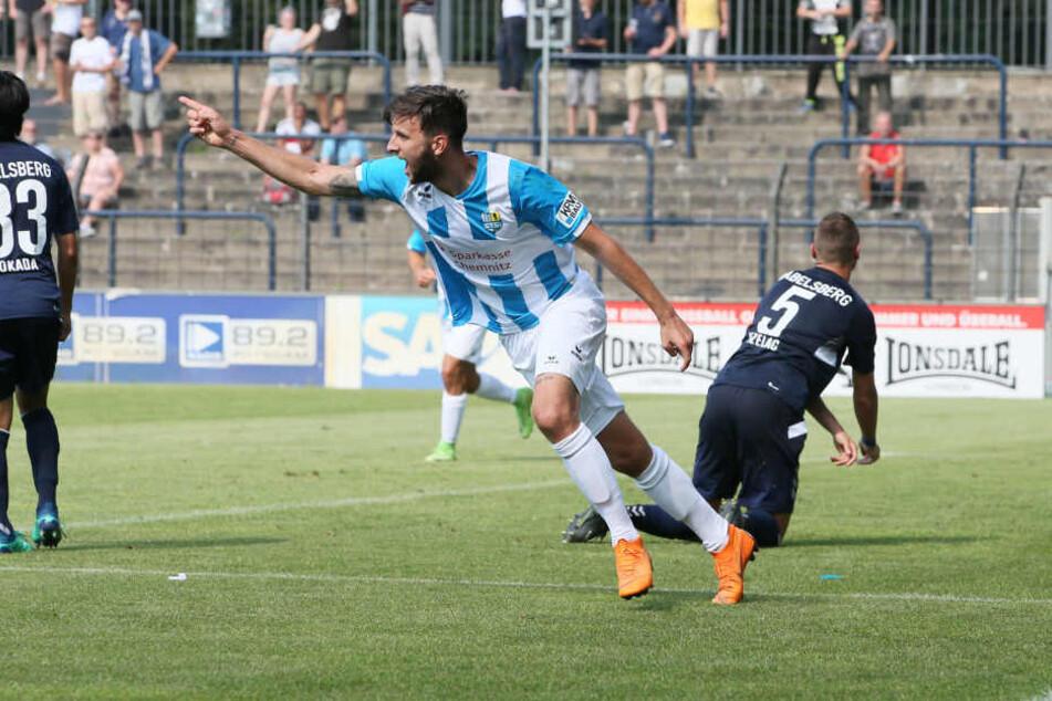 Dejan Bozic schoss den CFC in der 84. Minute zum 2:1-Sieg beim SV Babelsberg 03.
