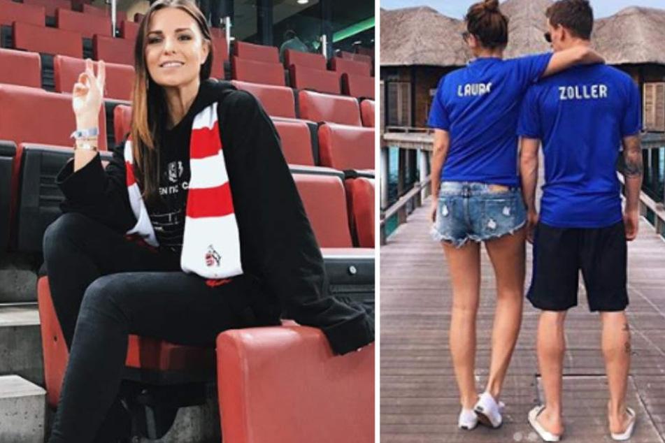 Laura Wontorra früher im rot-weißen FC-Schal (li.) und mit Ehemann Simon Zoller jetzt in Bochum-Blau (re.).