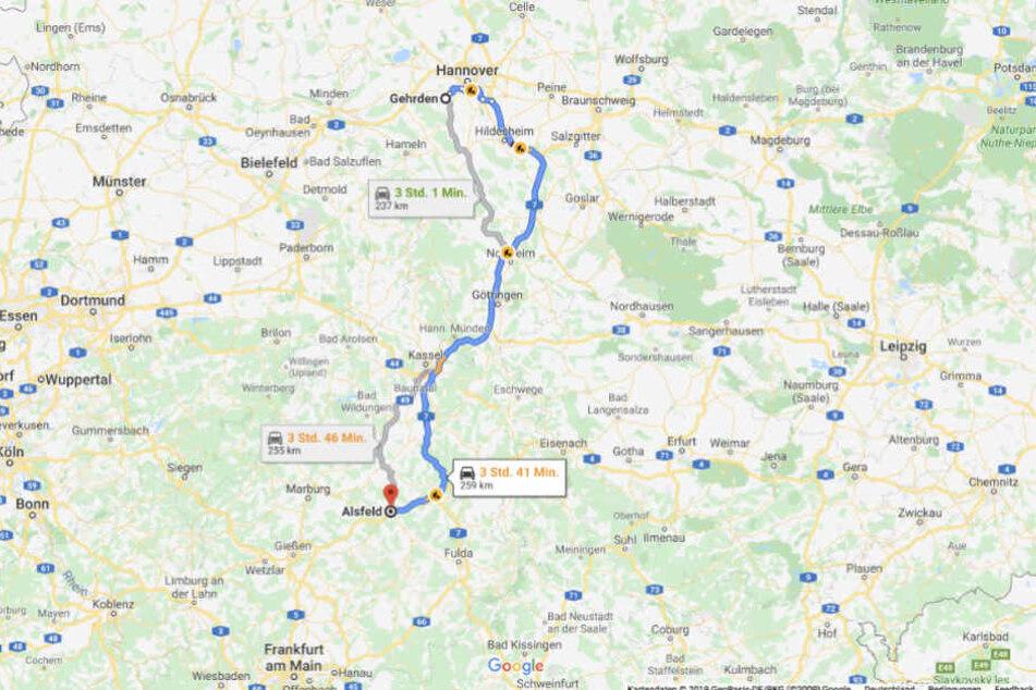 Der 14-Jährige fuhr über die A7 nach Hessen.