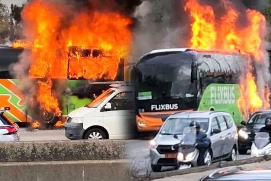 Ein Flixbus steht auf der Stadtautobahn in Paris lichterloh in Flammen.