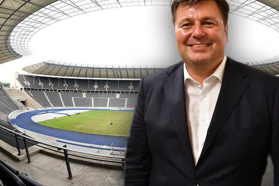 Andreas Geisel ist guter Dinge. Im Olympiastadion soll 2014 der internationale Ball rollen. (Bildmontage)