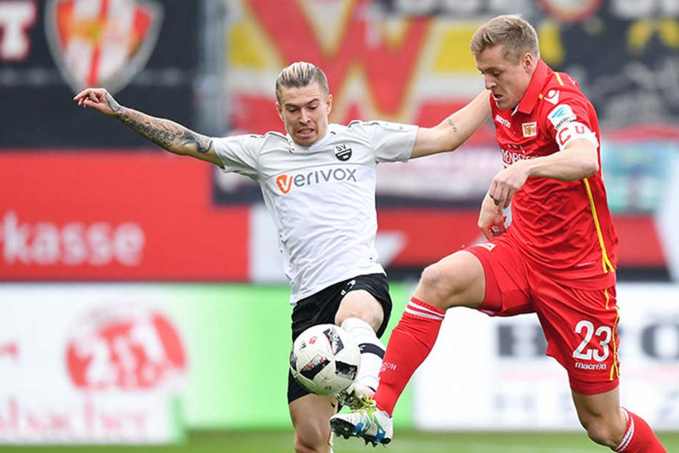 In der vergangenen Saison 2016/17 konnte Union in Sandhausen 1:0 gewinnen.