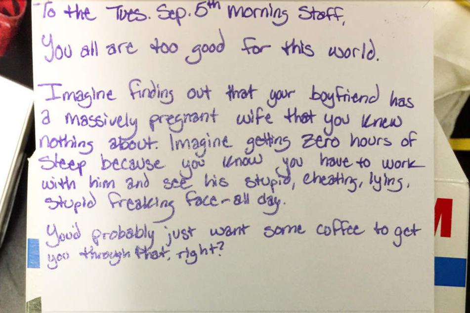 Mit diesem Brief bedankte sich eine Amerikanerin bei den Mitarbeitern ihres Lieblings-Coffeeshops.