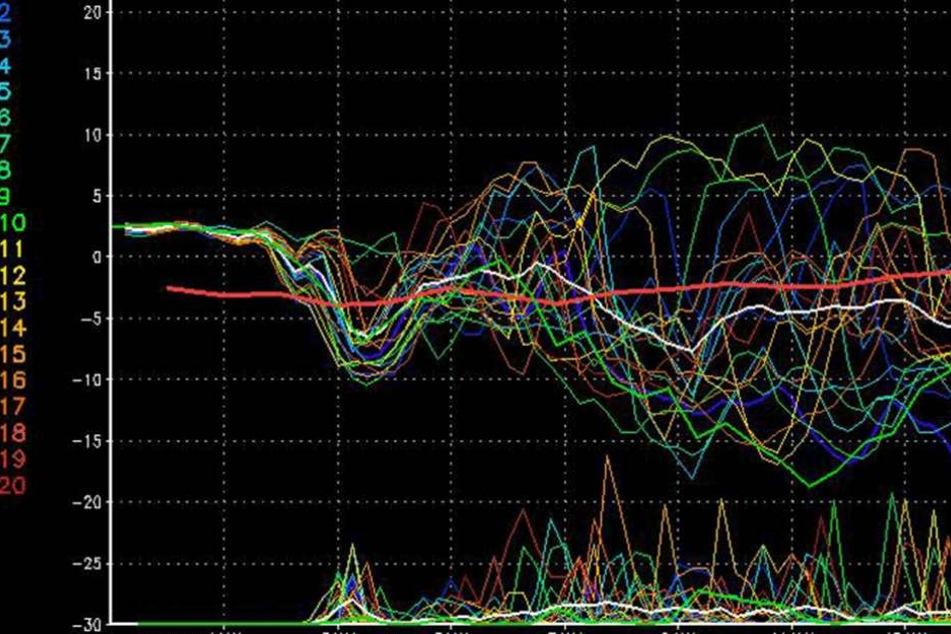 Der Kurvenverlauf des GFS-Modells lässt auf einen eisigen Januar schließen.