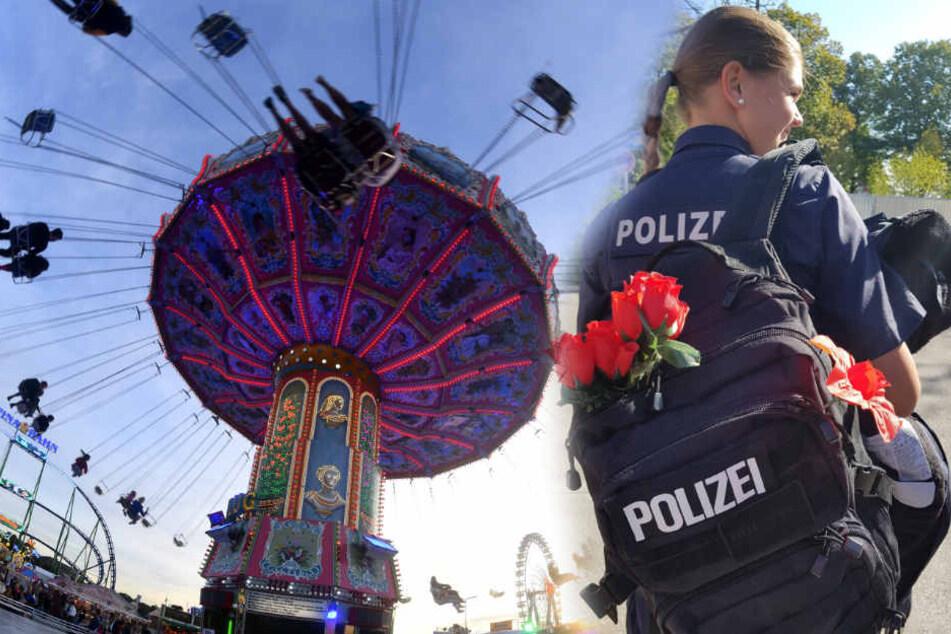 Einige Besucher beschenken die Polizisten für ihren Einsatz auf dem Oktoberfest.