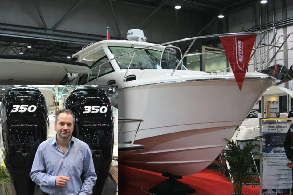 Bootshändler Mario Roos (42) präsentiert in Leipzig das stärkste und teuerste Motorboot - den Boston Whaler 315 Conquest mit zwei 350 PS-starken Außenbordern.