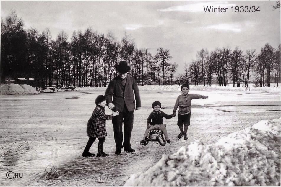 An der Teichschänke wurde im Winter 1933/34 gerodelt und Schlittschuh gefahren.