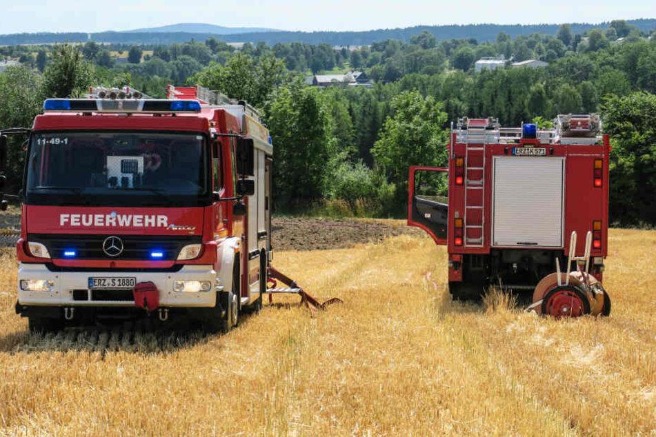 Die Feuerwehren aus Schneeberg und Bad Schlema waren bei dem Brand im Einsatz.