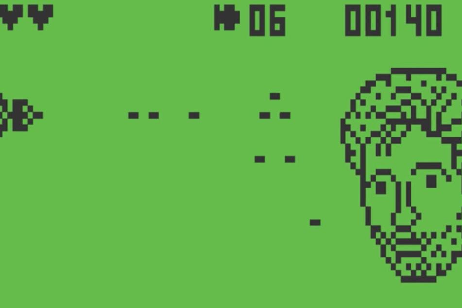 Am Ende des Levels ballert das Raumschiff auf einen Pixel-Palmer. (Screenshot)