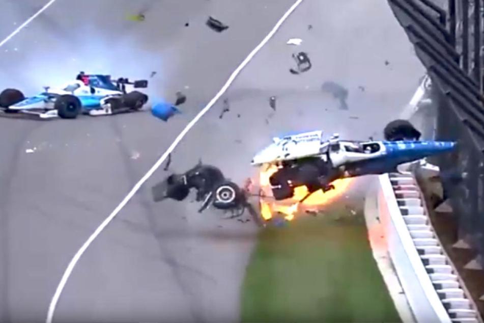 Schwerer Unfall bei Indy 500: Auto fliegt durch die Luft!