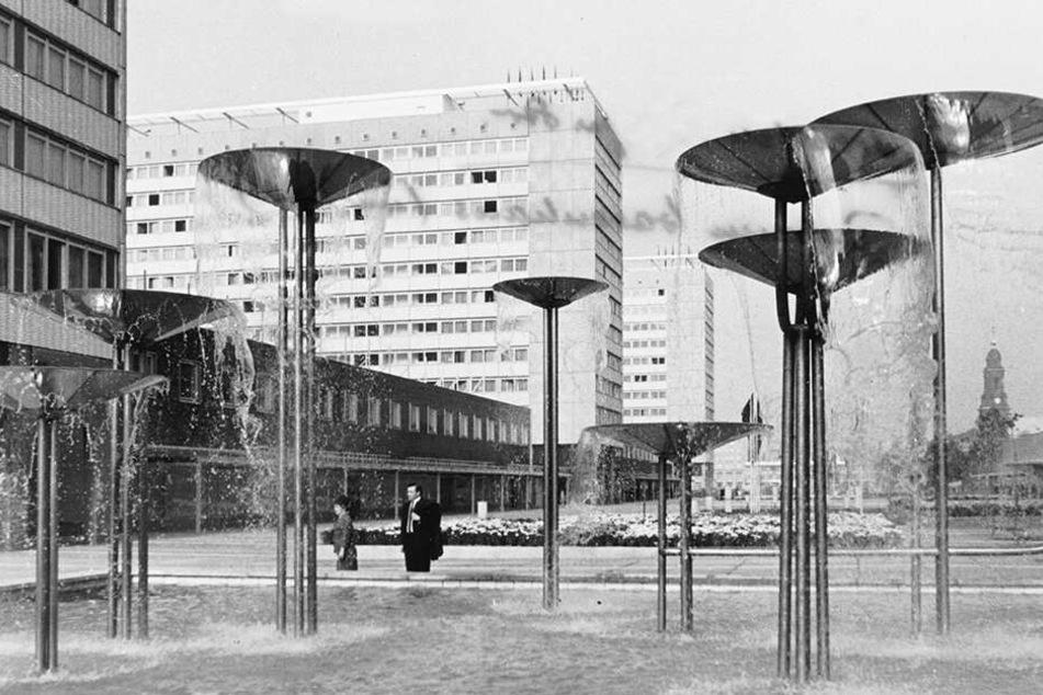 Der Schalenbrunnen von Bildhauerin Leoni Wirth (1935 - 2012) zierte bis 2004 die Prager Straße.