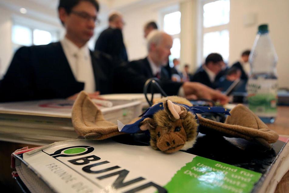 Ein Stofftier, das eine Fledermaus darstellt, liegt vor der Verhandlung zu drei Klagen des Umweltverbands BUND im Zusammenhang mit dem Hambacher Forst und Tagebau Hambach im Verwaltungsgericht auf dem Tisch.