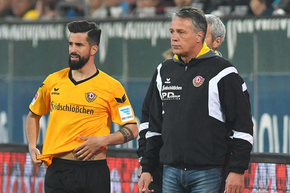 """Soll von Coach Neuhaus (r.) einen """"würdigen Abschied"""" bekommen: Nils Teixeira."""