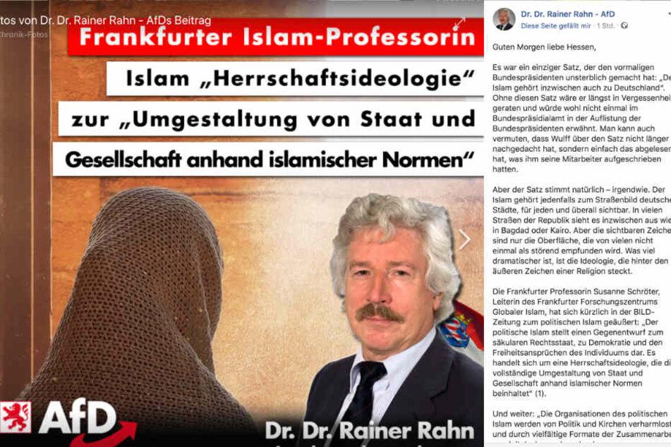 Dieser Screenshot zeigt den Facebook-Post von Rainer Rahn.
