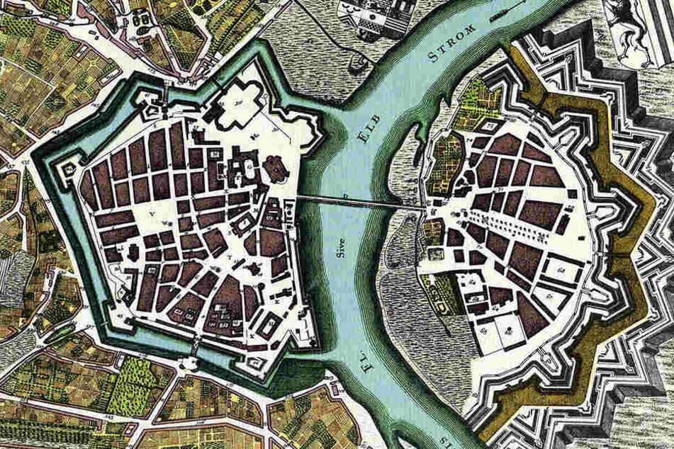"""Die Festung Dresden im Jahr 1750. Am Dippoldiswalder Platz befand sich die """"Bastion Merkur""""."""