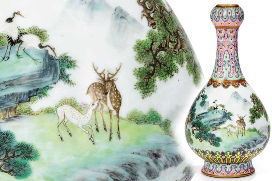 """Eine """"Yangcai"""" Porzellanvase im Famille-Rose-Stil aus dem 18. Jahrhundert."""