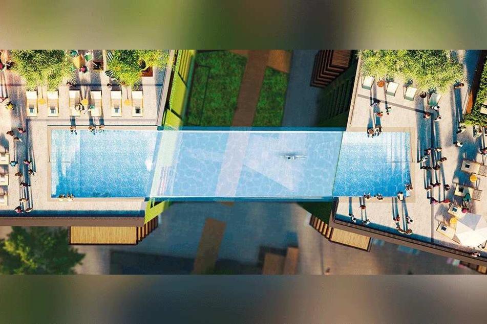 Auch um den Pool herum soll es genug Platz geben, damit sich die Bewohner sonnen und entspannen können.