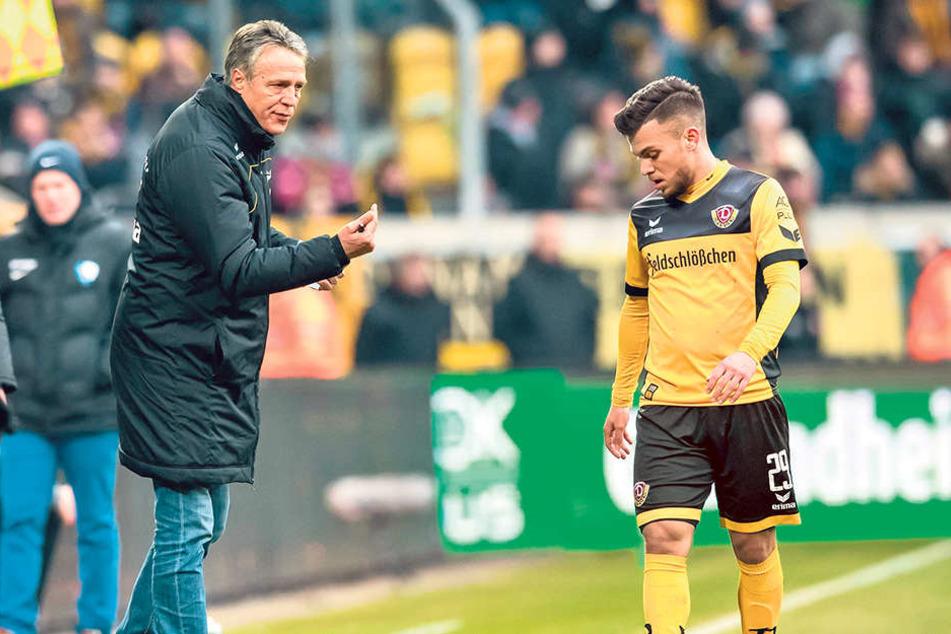 Trainer Uwe Neuhaus (l.) gab Sascha Horvath im Spiel gegen den VfL immer wieder (motivierende) Anweisungen.