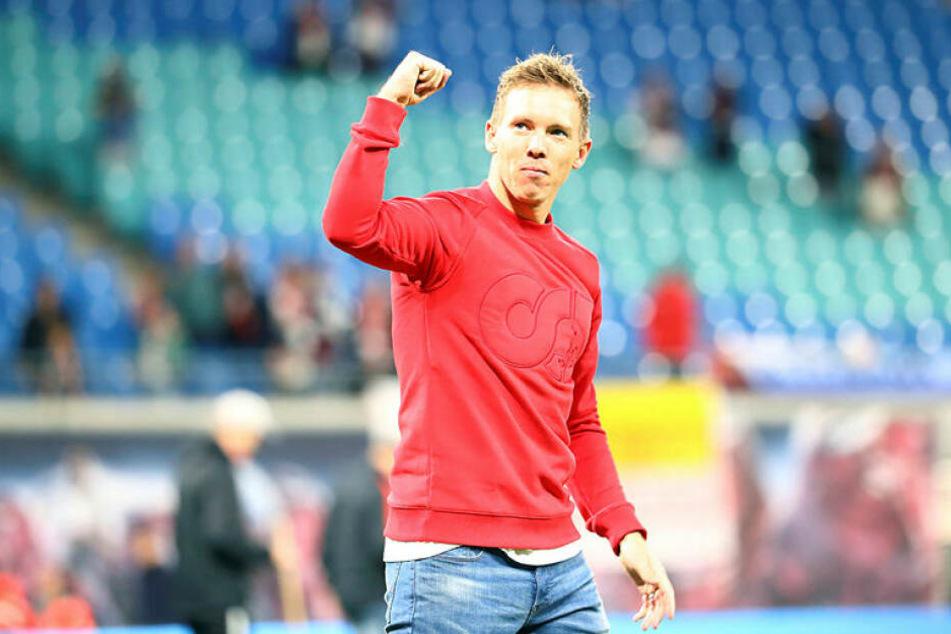 Die rechte Hand zur Faust geballt: Julian Nagelsmann feierte mit RB Leipzig nach durchwachsenen letzten Wochen mit einem 8:0 gegen Mainz 05 den zweiten Kantersieg innerhalb von vier Tagen.