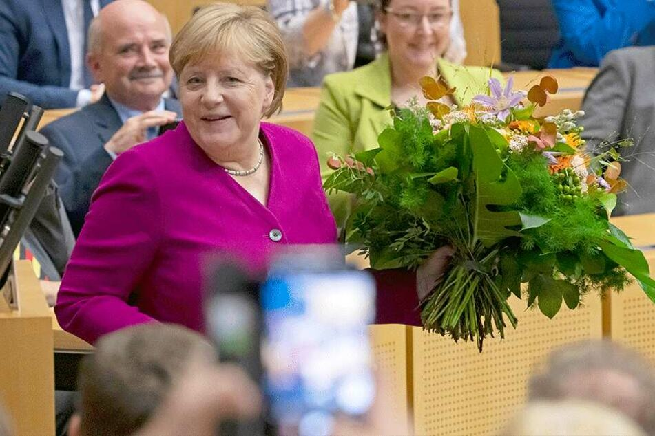 Bundeskanzlerin Angela Merkel beim Festakt der Thüringer CDU-Landtagsfraktion zum Tag der Deutschen Einheit in Erfurt.