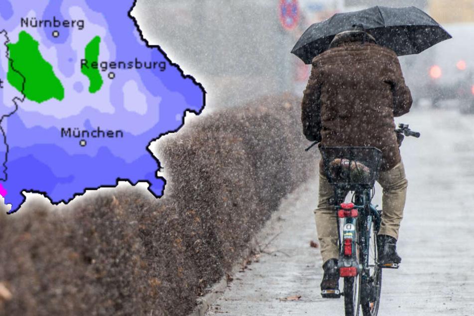 Am Wochenende wird im Freistaat Regen und Schneeregen erwartet. (Symbolbild)