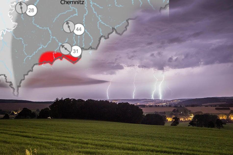 In der Nacht zum Mittwoch könnten Sturmböen, Starkregen und Hagel Teile Sachsens heimsuchen.