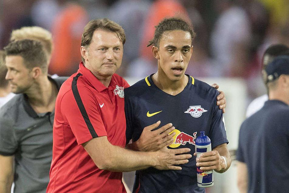 Trainer Ralph Hasenhüttl und Stürmer Yussuf Poulsen sind in dieser Saison noch ungeschlagen.