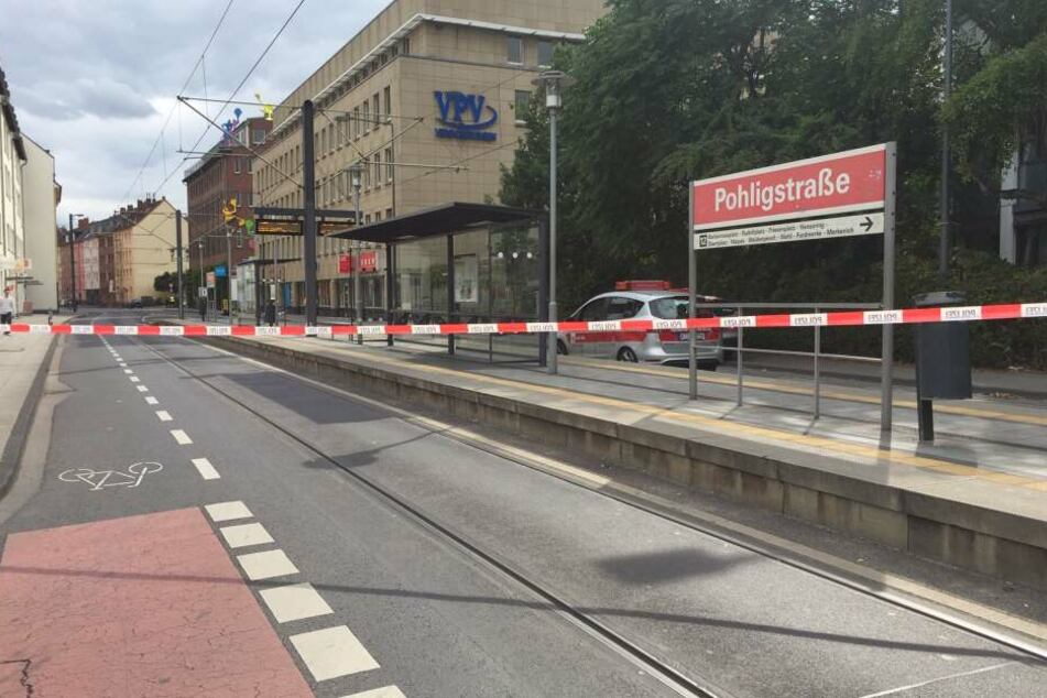 Die Haltestelle Pohligstraße wurde abgesperrt.