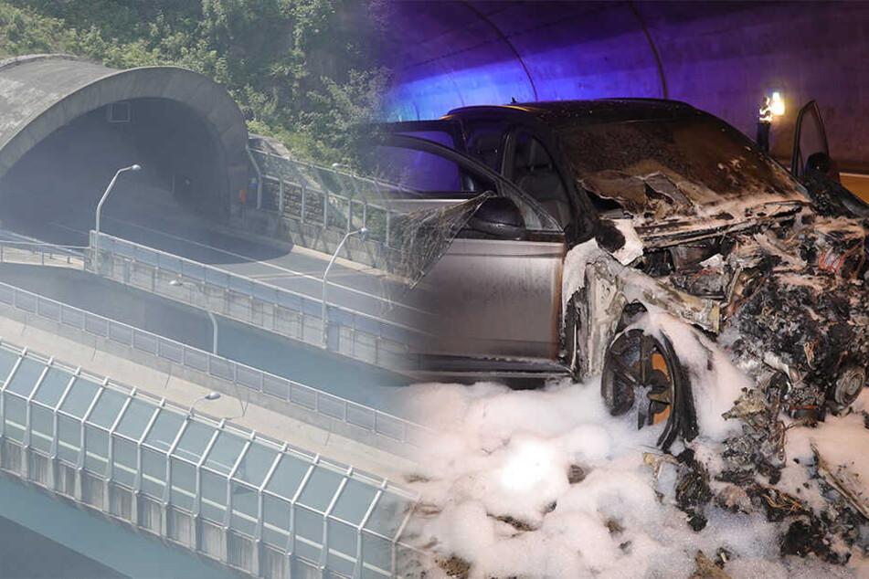 Vollsperrung! Audi brennt auf A17 in Coschützer Tunnel lichterloh