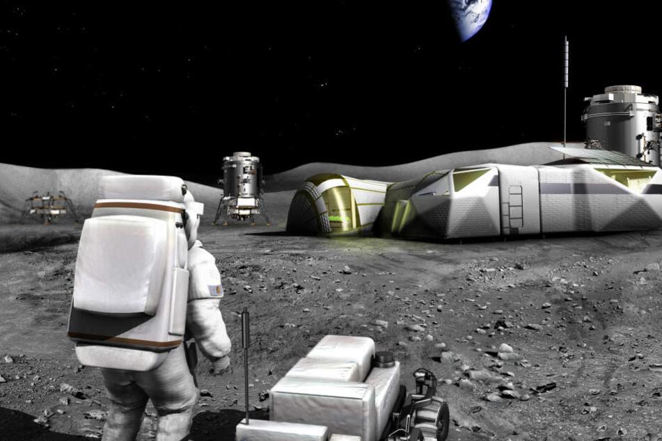 So könnte laut ESA eine Raumstation auf dem Mond aussehen.