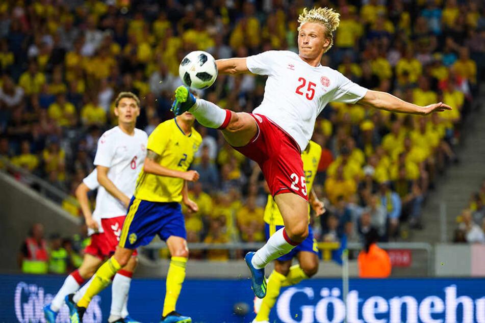 Kasper Dolberg hat bereits dreizehn Spiele für die dänische Nationalelf absolviert (drei Tore).