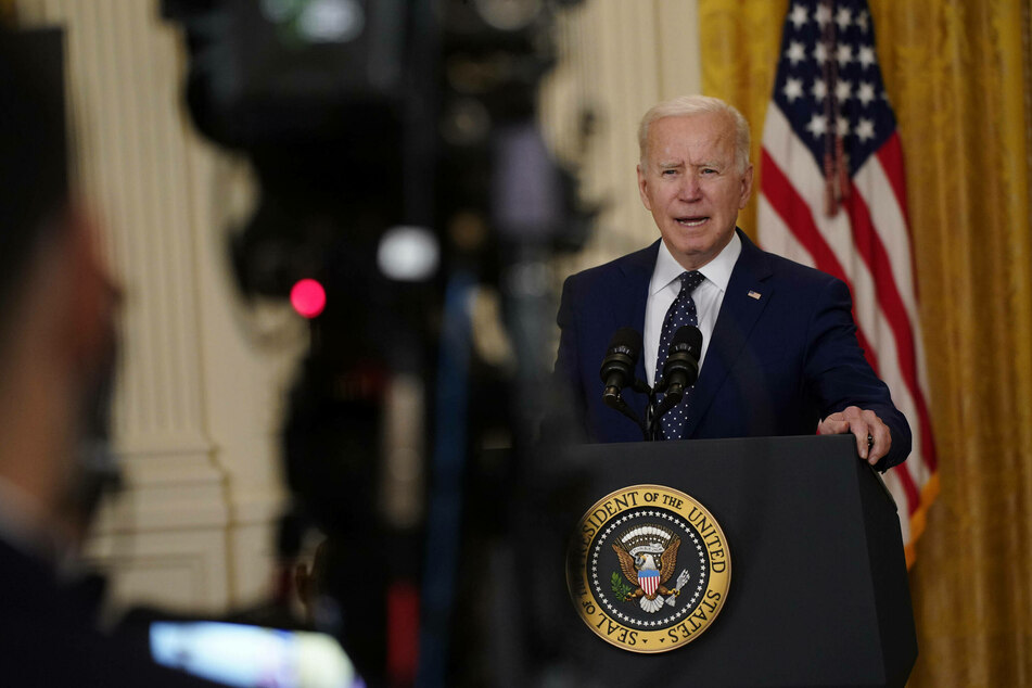 President Joe Biden speaks in the East Room of the White House on Thursday.