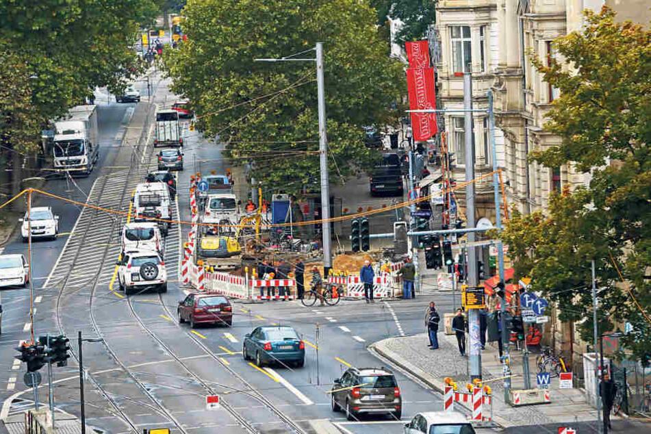 Die Kreuzung an Bautzner Ecke Rothenburger Straße wird entschärft. Nächstes  Jahr wird ein eigener Radweg gebaut.